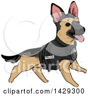 Clipart Of A K9 Unite Police German Shepherd Dog In A Vest Royalty Free Vector Illustration