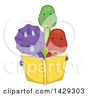 Clipart Of Cute Triceratops Tyrannosaurus Rex And Brontosaurus Dinosaurs Reading A Book Together Royalty Free Vector Illustration by BNP Design Studio