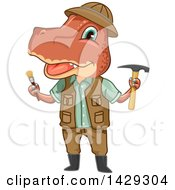 Clipart Of A Tyrannosaurus Rex Dinosaur Paleontologist Holding Tools Royalty Free Vector Illustration