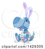 Clipart Of A Cute Tyrannosaurus Dinosaur Hatching With Ears From An Easter Egg Royalty Free Vector Illustration by BNP Design Studio
