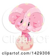 Clipart Ofa Cute Pink Triceratops Dinosaur Hatching Royalty Free Vector Illustration