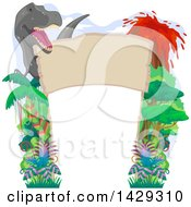 Clipart Of A Tyrannosaurus Rex Jungle And Volcano Border Royalty Free Vector Illustration