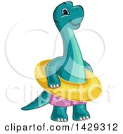 Clipart Of A Cute Baby Brontosaurus Dinosaur Wearing Swim Trunks And An Inner Tube Royalty Free Vector Illustration by BNP Design Studio