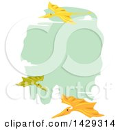 Clipart Of A Border Of Pterodactyls Flying Around Green Royalty Free Vector Illustration