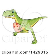 Clipart Of A Cartoon Raptor Dinosaur Stealing An Egg Royalty Free Vector Illustration