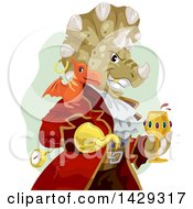 Clipart Of A Pirate Captain Triceratops Dinosaur With A Pterosaur On His Shoulder Royalty Free Vector Illustration by BNP Design Studio
