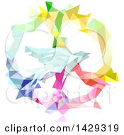 Clipart Of A Colorful Geometric Peace Symbol And Dove Royalty Free Vector Illustration