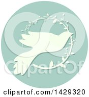 Clipart Of A Peace Dove With An Olive Branch Icon Royalty Free Vector Illustration