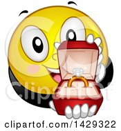 Clipart Of A Cartoon Yellow Emoji Smiley Face Proposing Royalty Free Vector Illustration