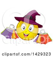 Clipart Of A Cartoon Yellow Emoji Smiley Face Witch Carrying Shopping Bags Royalty Free Vector Illustration