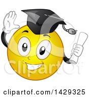 Cartoon Yellow Emoji Smiley Face Graduate