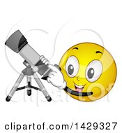 Clipart Of A Cartoon Yellow Emoji Smiley Face Using A Telescope Royalty Free Vector Illustration