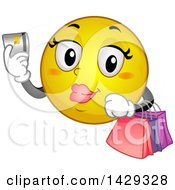 Cartoon Female Yellow Emoji Smiley Face Shopping With A Credit Card