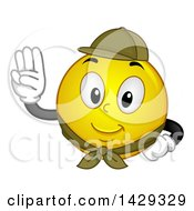 Clipart Of A Cartoon Yellow Emoji Smiley Face Scout Pledging Royalty Free Vector Illustration