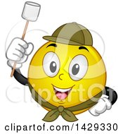 Clipart Of A Cartoon Yellow Emoji Smiley Face Scout Ready To Roast A Marshmallow Royalty Free Vector Illustration