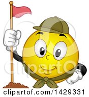 Clipart Of A Cartoon Yellow Emoji Smiley Face Scout With A Flag Royalty Free Vector Illustration by BNP Design Studio