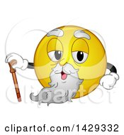 Poster, Art Print Of Cartoon Yellow Emoji Smiley Face Old Man With A Cane