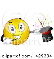 Clipart Of A Cartoon Yellow Emoji Smiley Face Magician Performing A Hat Trick Royalty Free Vector Illustration