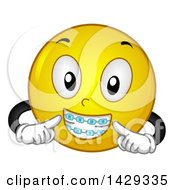 Clipart Of A Cartoon Yellow Emoji Smiley Face Wearing Braces Royalty Free Vector Illustration