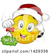 Clipart Of A Cartoon Yellow Emoji Smiley Face Wearing A Christmas Santa Hat And Holding Mistletoe Royalty Free Vector Illustration