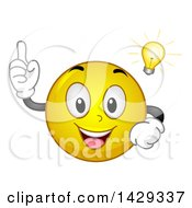 Clipart Of A Cartoon Yellow Emoji Smiley Face With An Idea Light Bulb Royalty Free Vector Illustration