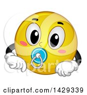 Cartoon Yellow Emoji Smiley Face Baby With A Pacifier
