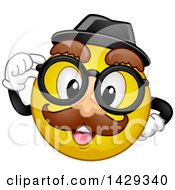 Clipart Of A Cartoon Yellow Emoji Smiley Face Wearing A Disguise Royalty Free Vector Illustration