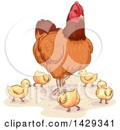 Clipart Of A Hen And Chicks Royalty Free Vector Illustration by BNP Design Studio