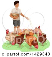 Clipart Of A Man Feeding A Group Of Chickens Near A Coop Royalty Free Vector Illustration