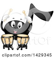 Clipart Of A Black Music Note Mascot Playing Timpani Kettledrums Royalty Free Vector Illustration