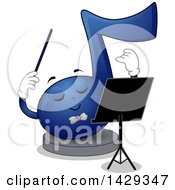 Clipart Of A Blue Music Note Mascot Conductor Royalty Free Vector Illustration by BNP Design Studio