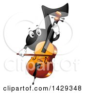 Clipart Of A Black Music Note Mascot Playing A Cello Royalty Free Vector Illustration