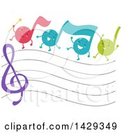 Clipart Of A Group Of Music Note Mascots Marching Over A Staff Royalty Free Vector Illustration by BNP Design Studio