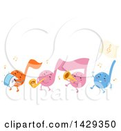 Group Of Music Note Mascots In A Marching Band