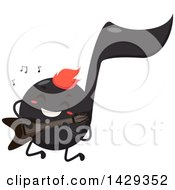 Clipart Of A Black Music Note Mascot Playing An Electric Guitar Royalty Free Vector Illustration