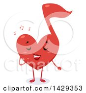 Red Heart Shaped Music Note Singing