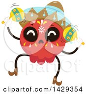 Clipart Of A Mexican Sugar Skull Mariachi Playing Maracas Royalty Free Vector Illustration