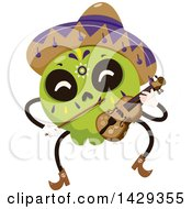 Clipart Of A Mexican Sugar Skull Mariachi Playing The Violin Royalty Free Vector Illustration by BNP Design Studio