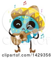 Clipart Of A Mexican Sugar Skull Mariachi Guitarist Royalty Free Vector Illustration by BNP Design Studio