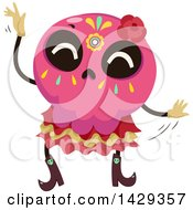 Clipart Of A Mexican Sugar Skull Dancing Royalty Free Vector Illustration by BNP Design Studio