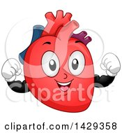Clipart Of A Flexing Heart Organ Mascot Royalty Free Vector Illustration