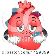 Sick Heart Organ Mascot With A Thermometer