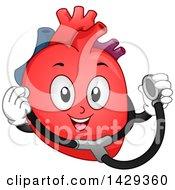 Happy Heart Organ Mascot Holding A Stethoscope