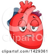 Clipart Of A Tired Heart Organ Mascot Royalty Free Vector Illustration