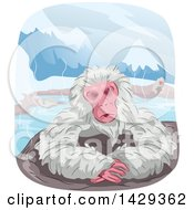 Clipart Of A Japanese Macaque Monkey Relaxing In A Hot Spring Bath Royalty Free Vector Illustration