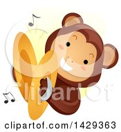 Clipart Of A Monkey Playing Cymbals Royalty Free Vector Illustration by BNP Design Studio