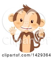 Clipart Of A Cute Monkey Counting 8 On His Fingers Royalty Free Vector Illustration