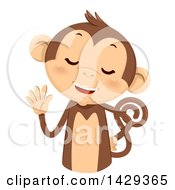 Clipart Of A Cute Monkey Counting 5 On His Fingers Royalty Free Vector Illustration