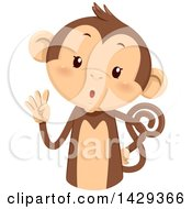 Clipart Of A Cute Monkey Counting 4 On His Fingers Royalty Free Vector Illustration