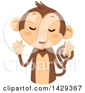 Clipart Of A Cute Monkey Counting 9 On His Fingers Royalty Free Vector Illustration